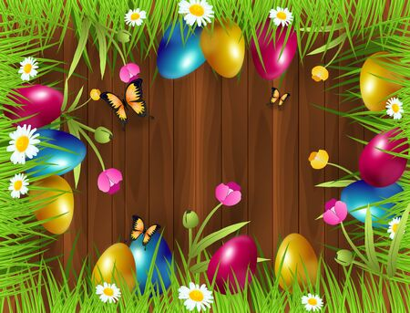 Illustration of cute easter background decorated with easter eggs hidden in grass 版權商用圖片