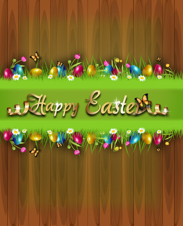Illustration of easter greeting card decorated with easter eggs hidden in grass 版權商用圖片