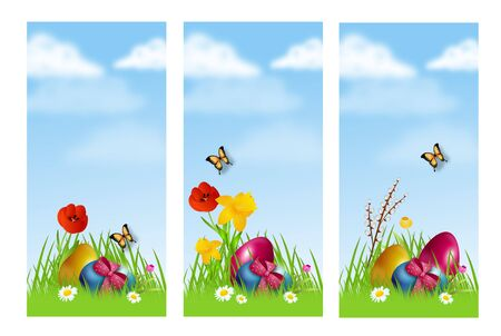 Illustration of easter banners with easter eggs in grass decorated with flowers