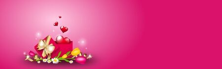 Illustration of pink background decorated for valentines day celebration Stock Photo