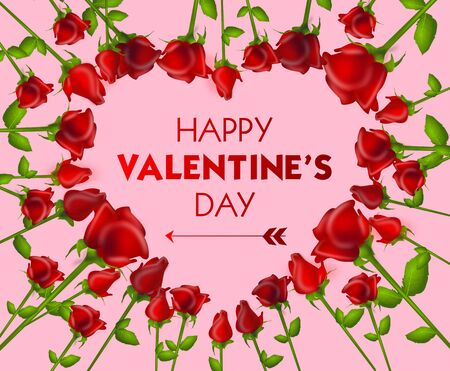 Illustration of red roses in heart shape decorated with text to happy valentine