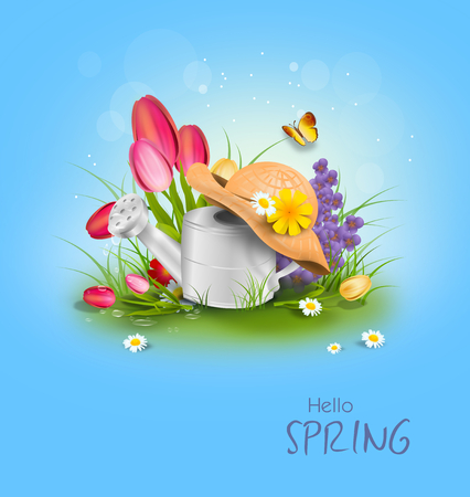 Illustration of spring decoration - tinny can with spring flowers Foto de archivo