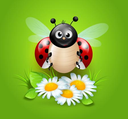 Cute illustration of ladybug on white daisy flowers Stock Photo