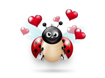 Cute illustration of ladybug with red hearts Stock Photo