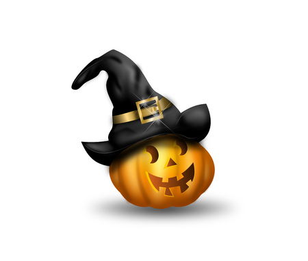 Illustration of cute smiling halloween pumpkin with witch hat
