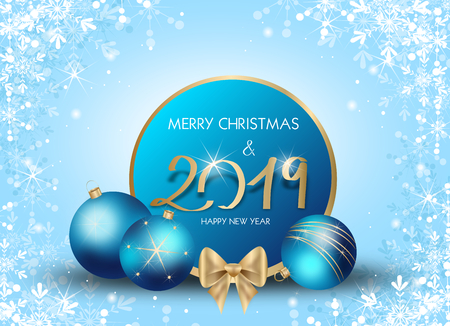 Illustration of beautiful blue christmas background decorated with christmas bulbs for year 2019
