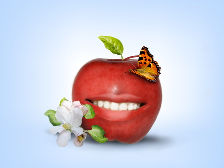 Photo manipulation of smiling red apple decorated with butterfly