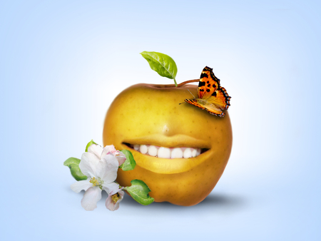 Photo manipulation of smiling yellow apple decorated with butterfly