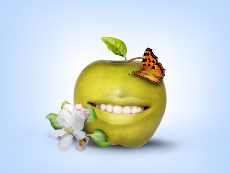 Photo manipulation of smiling green apple decorated with butterfly Stock Photo