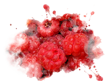Photo manipulation of sweet fresh raspberries splash Stock Photo