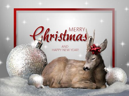 Christmas greeting card with deer and christmas decoration Zdjęcie Seryjne