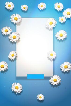 Template of light blue background with flower decoration Zdjęcie Seryjne
