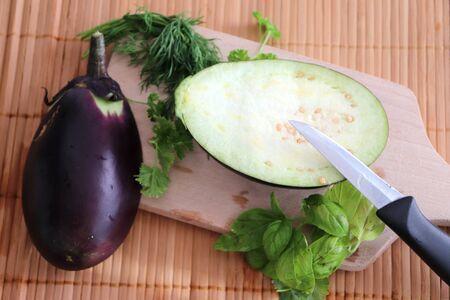 Preparing food of eggplant with some herbs Zdjęcie Seryjne