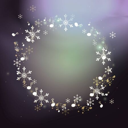 Circle set of white snowlakes and music notes on colorful background Zdjęcie Seryjne