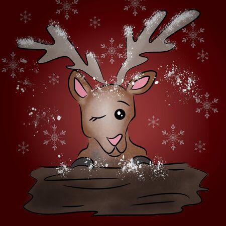 cartoon reindeer with wooden board in winter