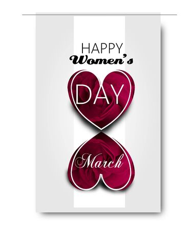 Greeting card to women's day decodated with rose heart