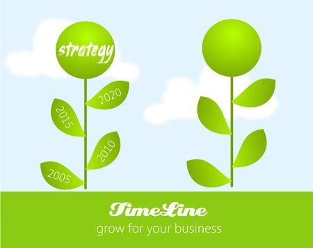 Illustration of infographic for business strategy as green grow flower