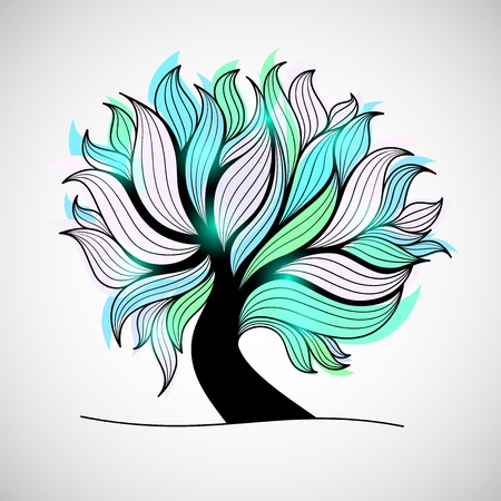 Bright colorful tree with branches and leaves, green cyan color, glass or crystal glamour style, vector illustration Vector