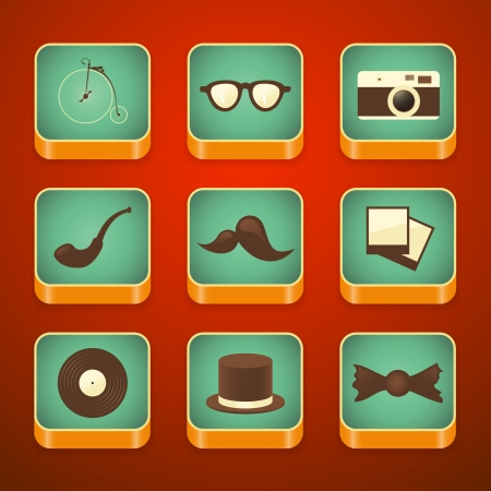 background for the app icons, with set hipster items, vector illustration Vector