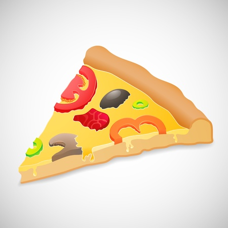 Big piece pizza, isolated over white background, food vector illustration, used for menu, icon, website design, invitation in pizzeria Vector