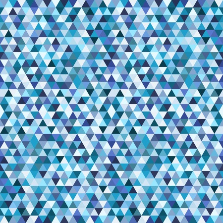 Geometric mosaic seamless pattern from blue triangle texture, abstract vector background illustration, can be used in textiles Illustration