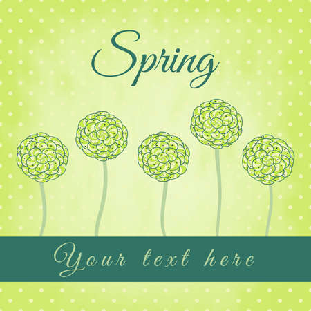 Tree with green spiral leaves, spring theme, vector illustration, design for card, ..packaging, invitations, decoration, bag. Vector