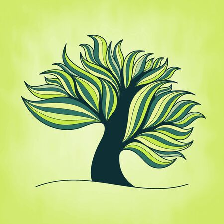 Green fresh colorful tree with branches and leaves, spring or summer theme, vector illustration Vector