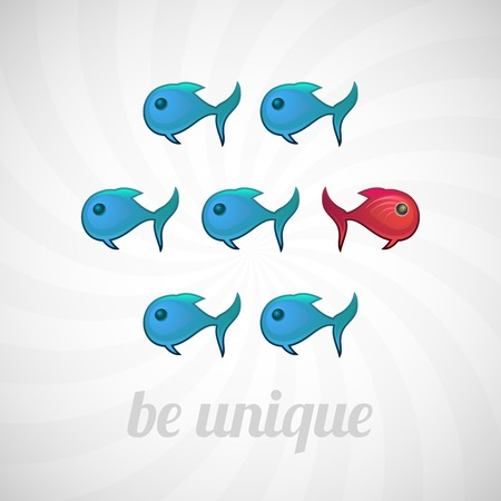 differentiate: Be unique concept, blue and red fish, isolated vector illustration Illustration