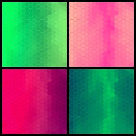Set of four geometric colorful pattern, digital hexagon pixel mosaic, green and pink color, abstract vector background