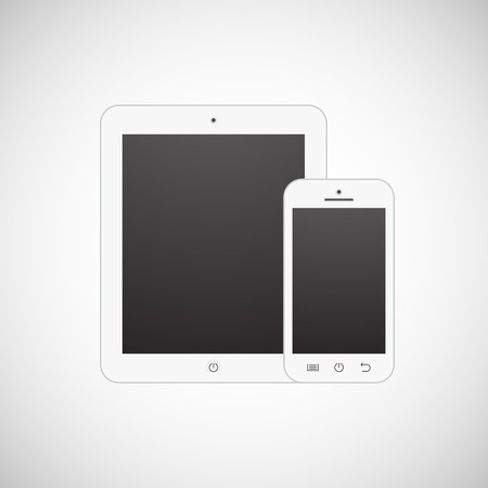 Realistic vector white tablet computer and mobile phone template Vector