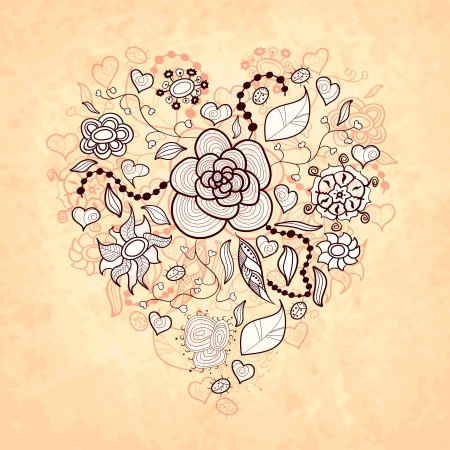 Vector floral doodle heart, made of different flowers, leaves and ladybug, vintage ..style Vector