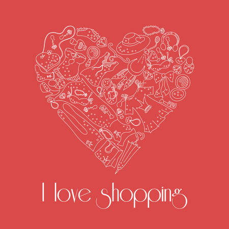 fetishes: I love shopping, heart from stylish hand drawn composition of women related fashion items, shopping madness