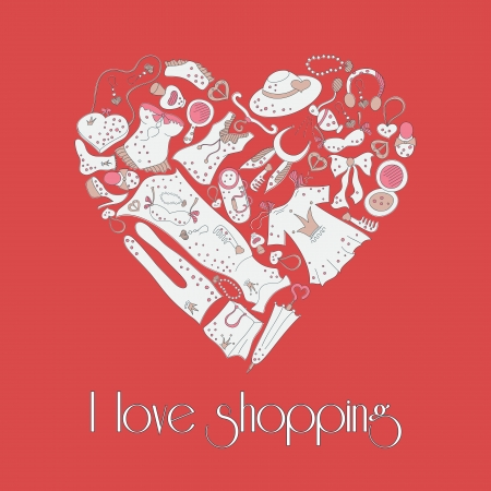 Heart shape made of different female, I love Shopping Vector