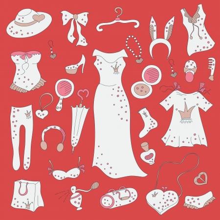 madness: Fashion hand drawn doodle set, Shopping madness
