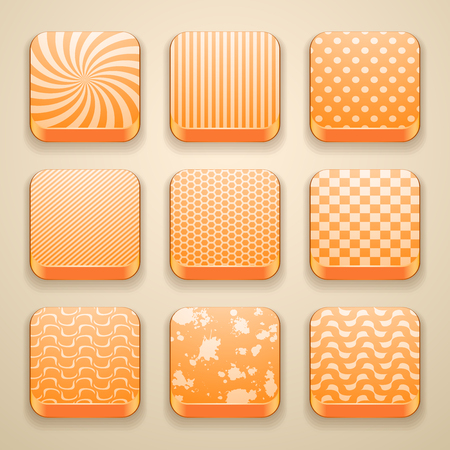 background for the app icons, with set retro pattern texture, polka dot, stripes, chess, grunge blots, spiral, honeycomb Illustration