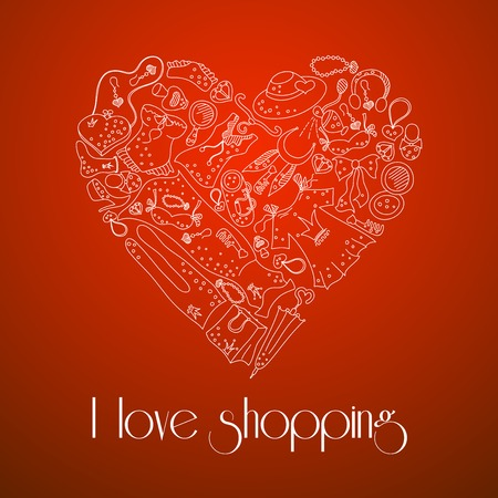 I love shopping, heart from stylish hand drawn composition of women related fashion items, shopping madness