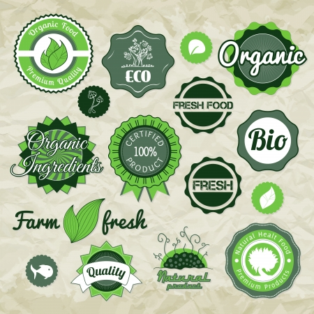 bio: Collection green vector labels, badges and icons, bio eco natural certified fresh theme, vintage retro grunge set