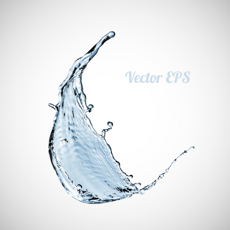 water splash: Blue water splash isolated on white background, vector illustration