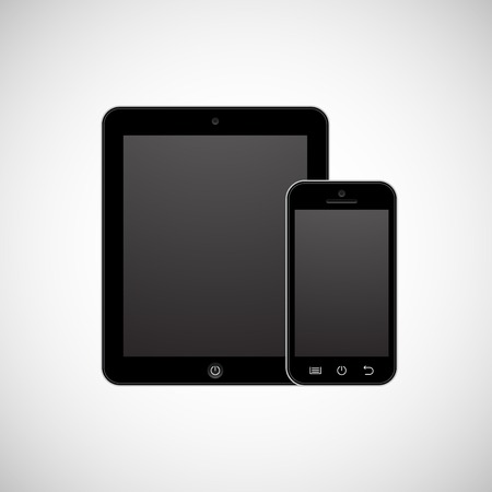 Realistic vector tablet computer and mobile phone template