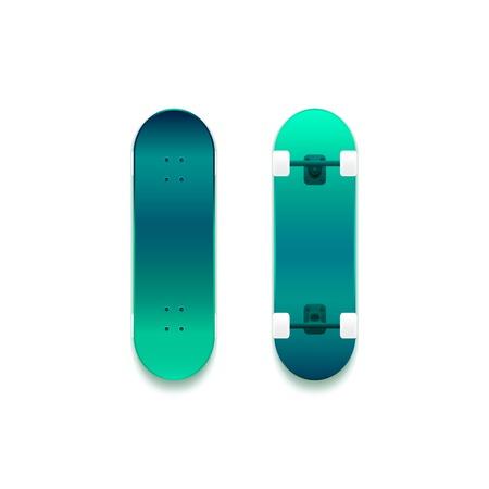 skateboard park: Juego de patinetas vectoriales, superficie de ne�n de color cian, verde, lado intrincadamente detallada, superior e inferior con un peque�o detalle, ilustraci�n vectorial