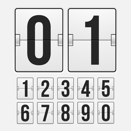 Countdown timer, white color mechanical scoreboard with different numbers Ilustração