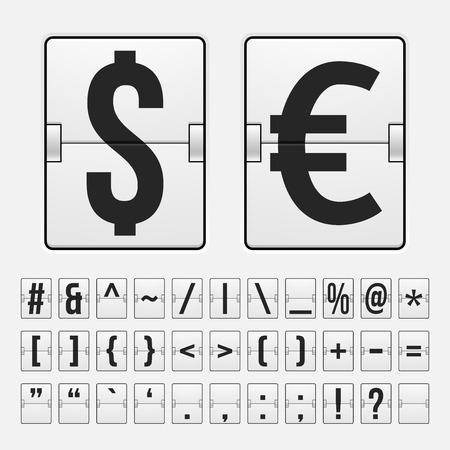 Vector scoreboard with symbols alphabet mechanical panel Illustration
