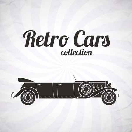 cabriolet: Retro limousine car, vintage collection, classic garage sign, vector illustration background, can be used for design, card, infographics