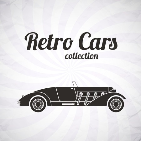 Retro cabriolet sport car, vintage collection, classic garage sign, vector illustration background, can be used for design, infographics