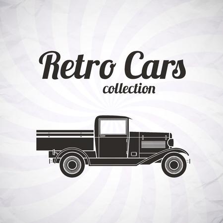 camioneta pick up: Recogida Retro, coche cami�n, recogida vintage, muestra garage cl�sico, ilustraci�n vectorial, se puede utilizar para el dise�o, tarjeta, infograf�a