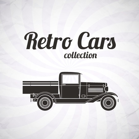 pickup: Retro pickup, truck car, vintage collection, classic garage sign, vector illustration background, can be used for design, card, infographics