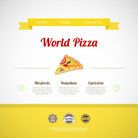 Pizza menu template for web or menu, vector illustration Vector