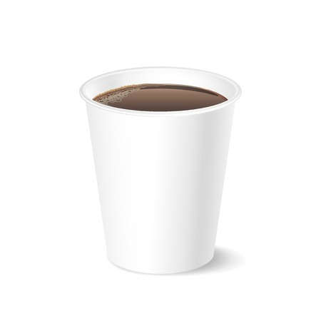 Opened take-out coffee cup, isolated on a white