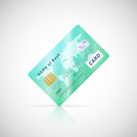 Vector illustration of detailed glossy green credit card icon isolated on white background Vector