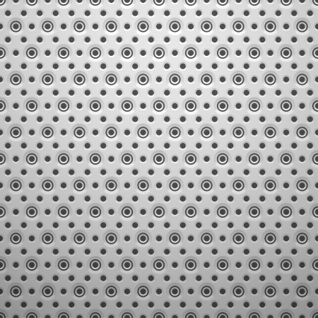 White metal texture with holes, vector background illustration Illustration